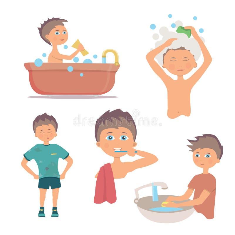 Persönliche Hygiene des Morgens und Handreinigungsverfahren Hygienejunge lizenzfreie abbildung