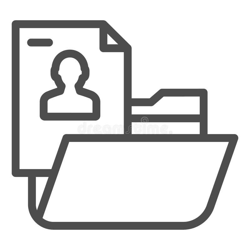 Persönliche Ordnerlinie Ikone Ordner mit der Vektorillustration der pers?nlichen Information lokalisiert auf Wei? Computerordner stock abbildung
