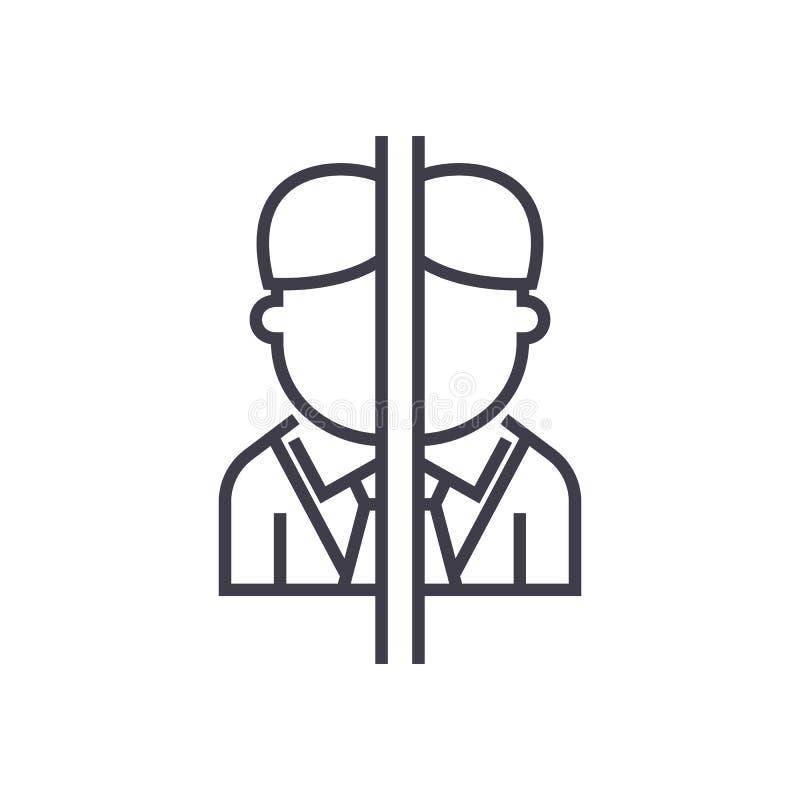 Persönliche Störung, Spielvektorlinie Ikone, Zeichen, Illustration auf Hintergrund, editable Anschläge vektor abbildung