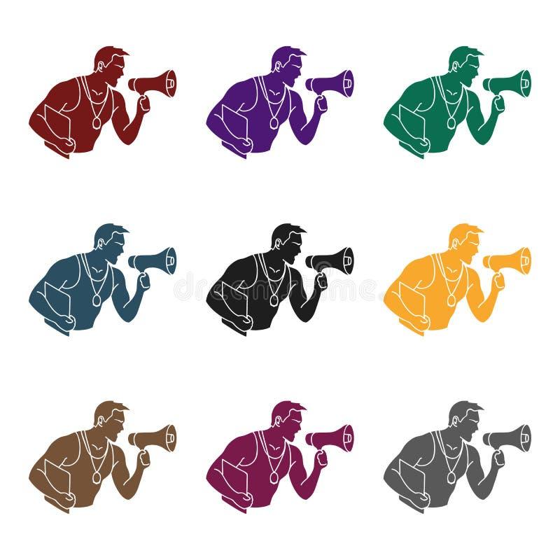 Persönliche Trainerikone in der schwarzen Art lokalisiert auf weißem Hintergrund Sport- und Eignungssymbolvorrat-Vektorillustrati lizenzfreie abbildung