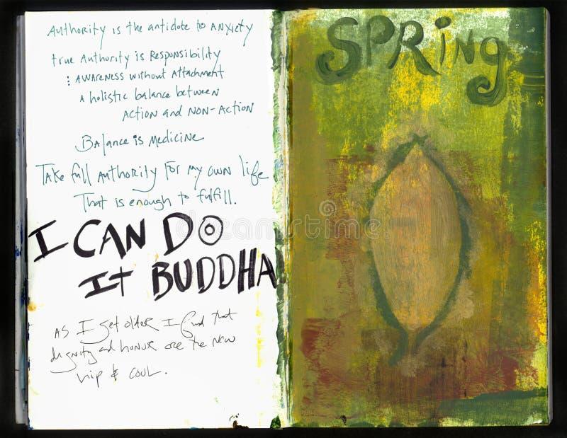 Persönlichen Art Journal Artists verrückte Klugheits-handgemachte Collage Art Journal stock abbildung
