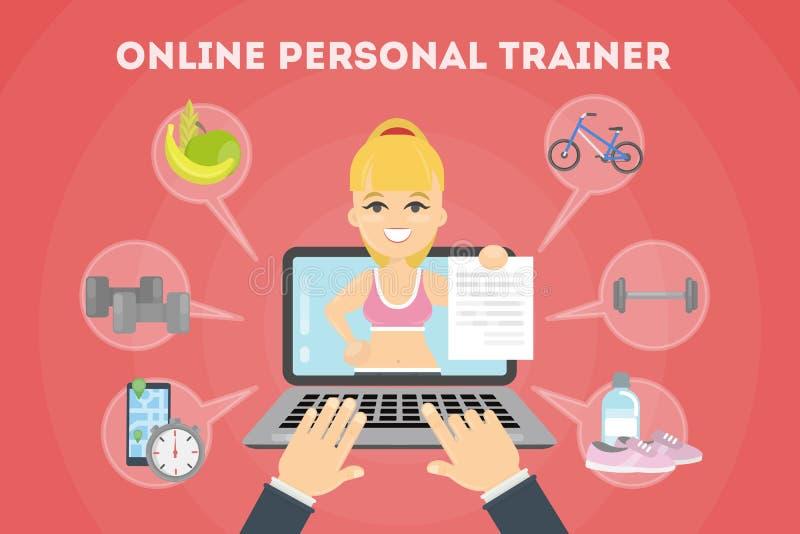Persönlicher Trainer online stock abbildung