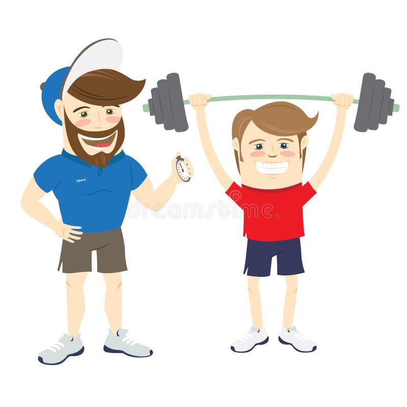 Persönlicher Trainerlehrer der bärtigen Eignung und lustiger Sportler vektor abbildung