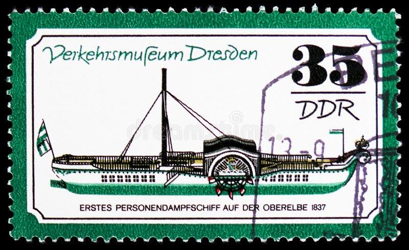 Persönliches Dampfschiff im Jahre 1837, Verkehrs-Museum von Dresden-serie, circa 1977 stockbilder