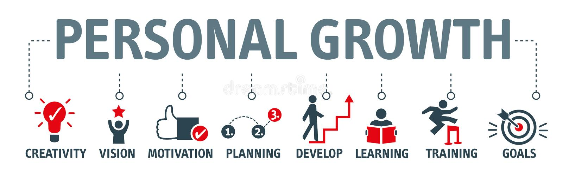 Persönliches Wachstums- und Entwicklungsvektorillustrationskonzept lizenzfreie abbildung