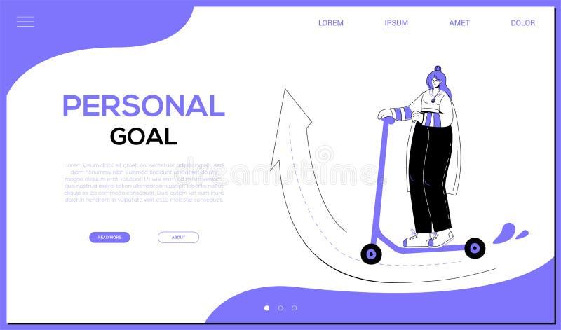 Persönliches Ziel - bunte flache Entwurfsart-Netzfahne lizenzfreie abbildung