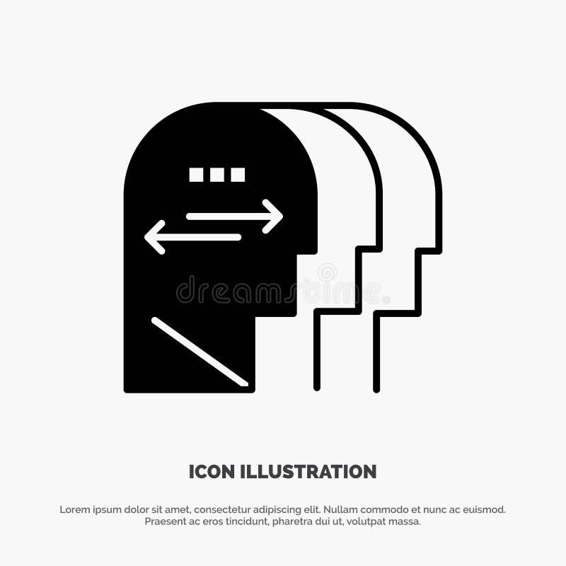 Persönlichkeit, Charakter, Verstand, Kopf fester Glyph-Ikonenvektor stock abbildung