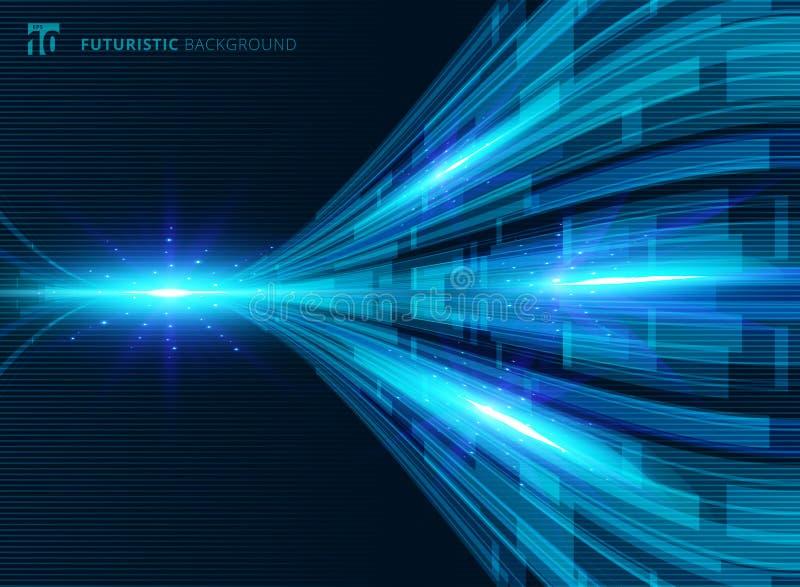 Pers digitales futuristas del concepto virtual azul abstracto de la tecnología libre illustration