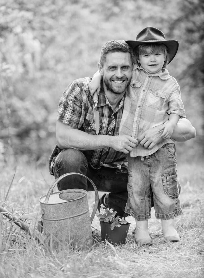 Pers?nliches Beispiel Wenig Helfer im Garten Pflanzen der Blumen Wachsende Anlagen K?mmern Sie sich um Anlagen Junge und Vater he stockbilder