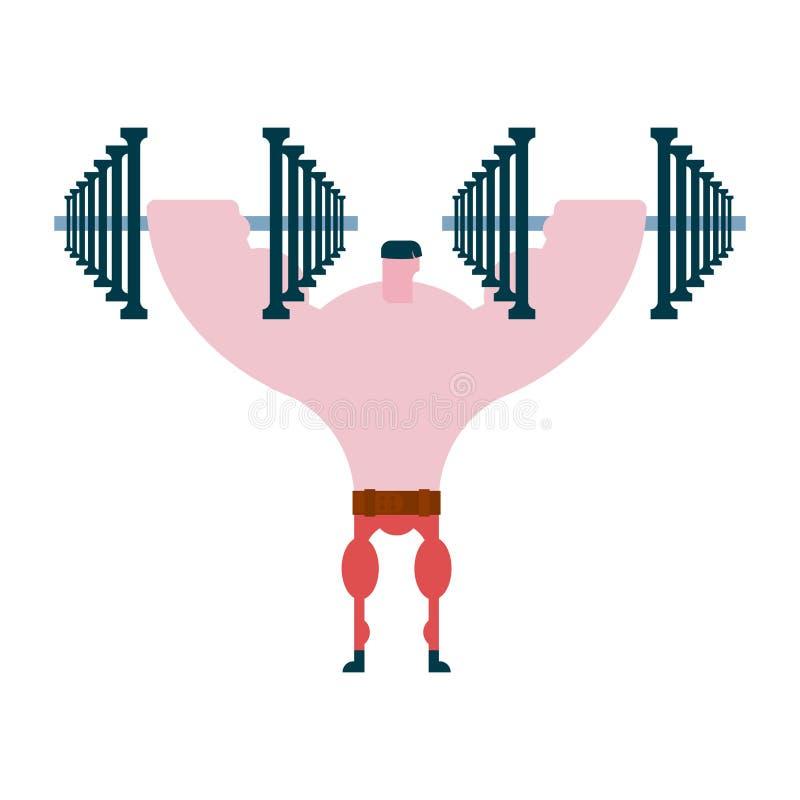 Pers op domoren Atleet en barbell Bodybuilding en powerl vector illustratie