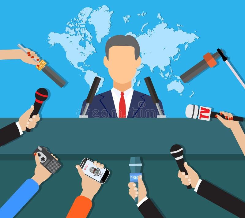Persconferentie, nieuws van wereld het levende TV, gesprek vector illustratie