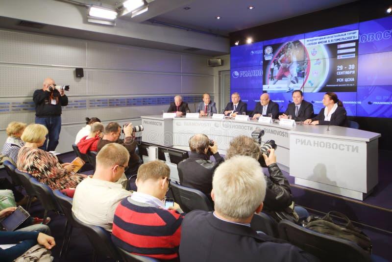 Persconferentie vóór de internationale kop van basketbaltoernooien royalty-vrije stock fotografie
