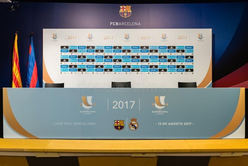 Persconferentieruimte voor Spaanse Super Kop, Barcelona, Cataloni stock foto's