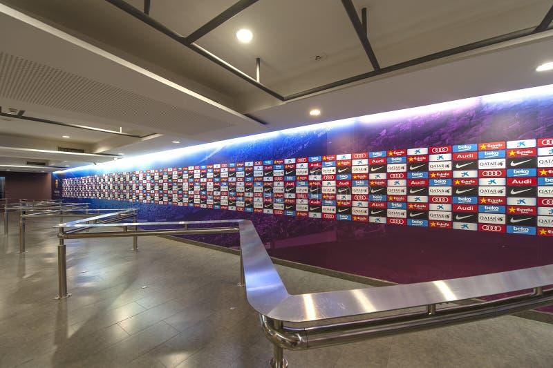 Persconferentiezaal in Camp Nou stock foto
