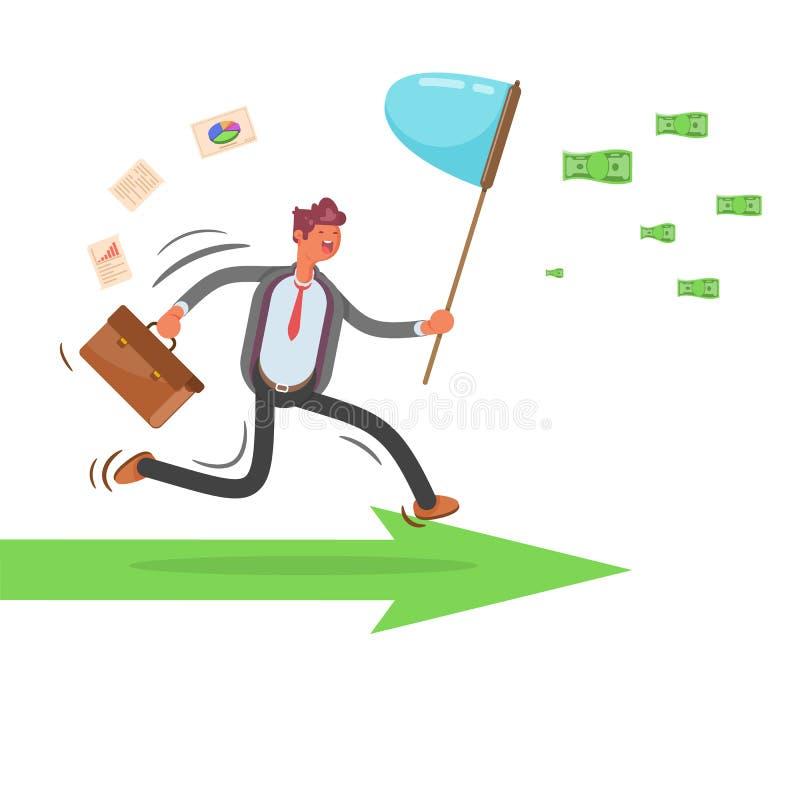 Persecución de ideas Persecución del dinero Hombre de negocios Ilustración moderna del vector - El fichero del vector stock de ilustración