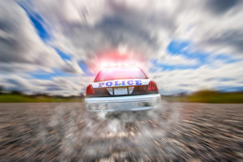 Persecución del coche policía imágenes de archivo libres de regalías
