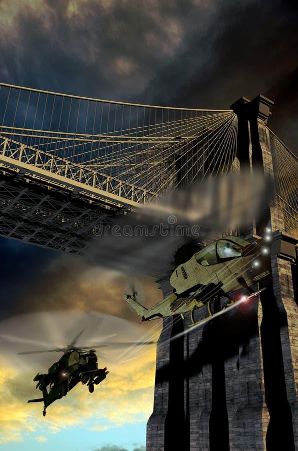 Persecución del helicóptero ilustración del vector