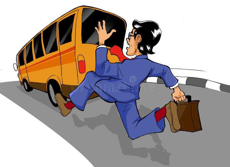 Persecución del omnibus stock de ilustración