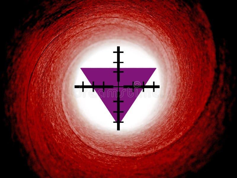 Persecución religiosa de los triángulos púrpuras imágenes de archivo libres de regalías