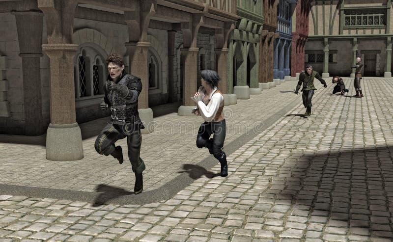 Persecución a través de una calle medieval stock de ilustración