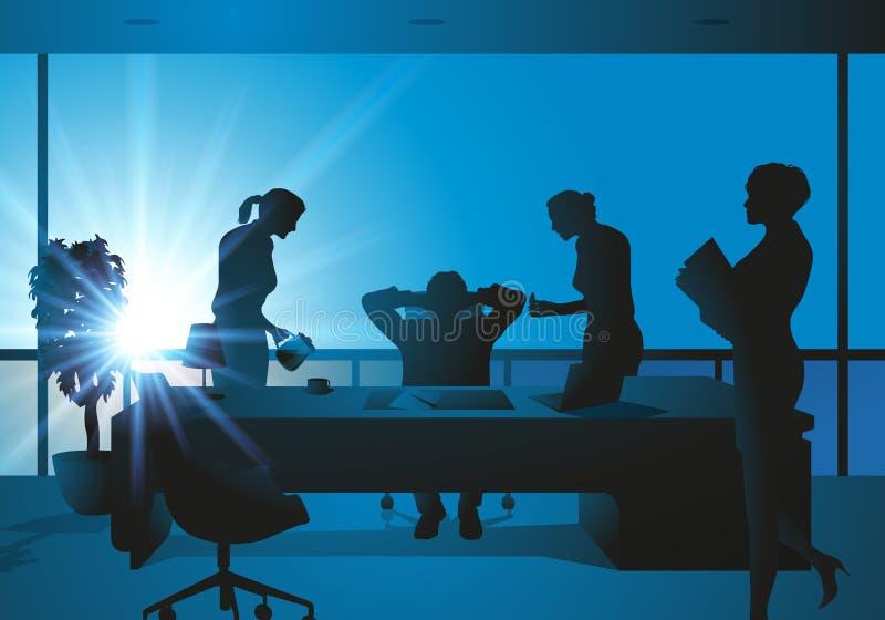 Perseguição e abuso de poder de um chefe no negócio ilustração do vetor