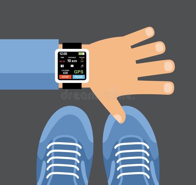 Perseguidor app da aptidão para o smartwatch e o smartphone ilustração do vetor