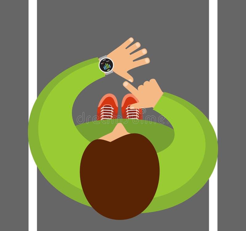 Perseguidor app da aptidão para o smartwatch e o smartphone Smartwatch em um pulso ilustração stock