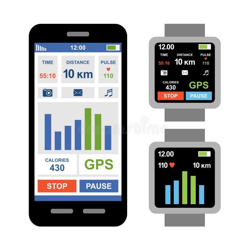 Perseguidor app de la aptitud para el smartwatch y el smartphone ilustración del vector