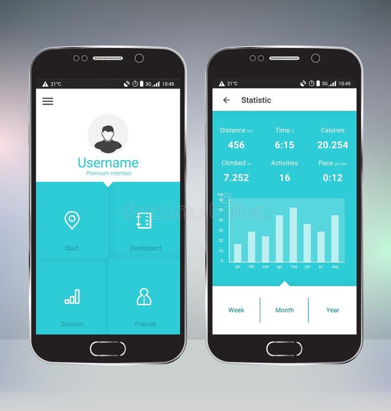 Perseguidor App del deporte ilustración del vector