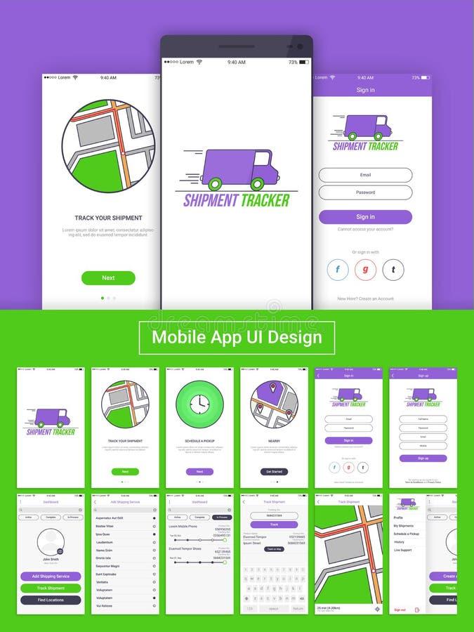 Perseguidor App móvil UI, UX y GUI del envío ilustración del vector