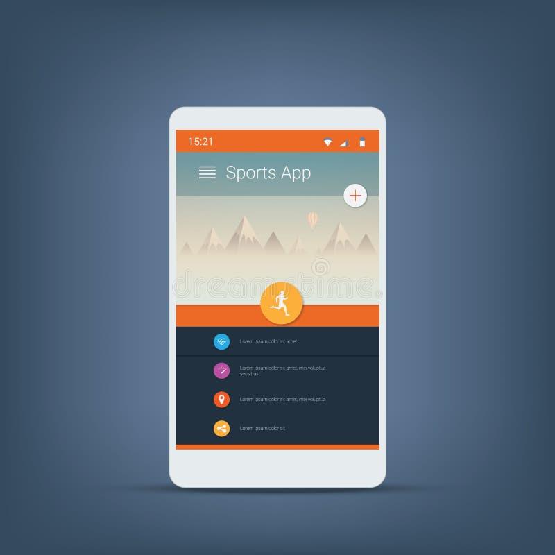 Perseguidor da aptidão ou molde dos ícones da interface de utilizador do app dos esportes para o smartphone ilustração royalty free