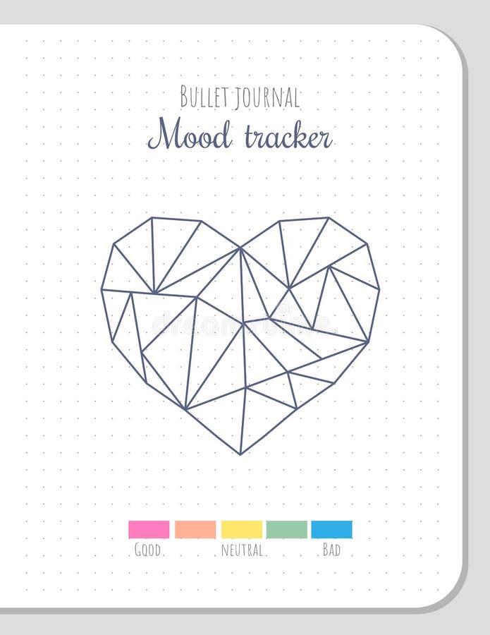 Perseguidor do humor na forma poligonal do coração, molde vazio ilustração do vetor