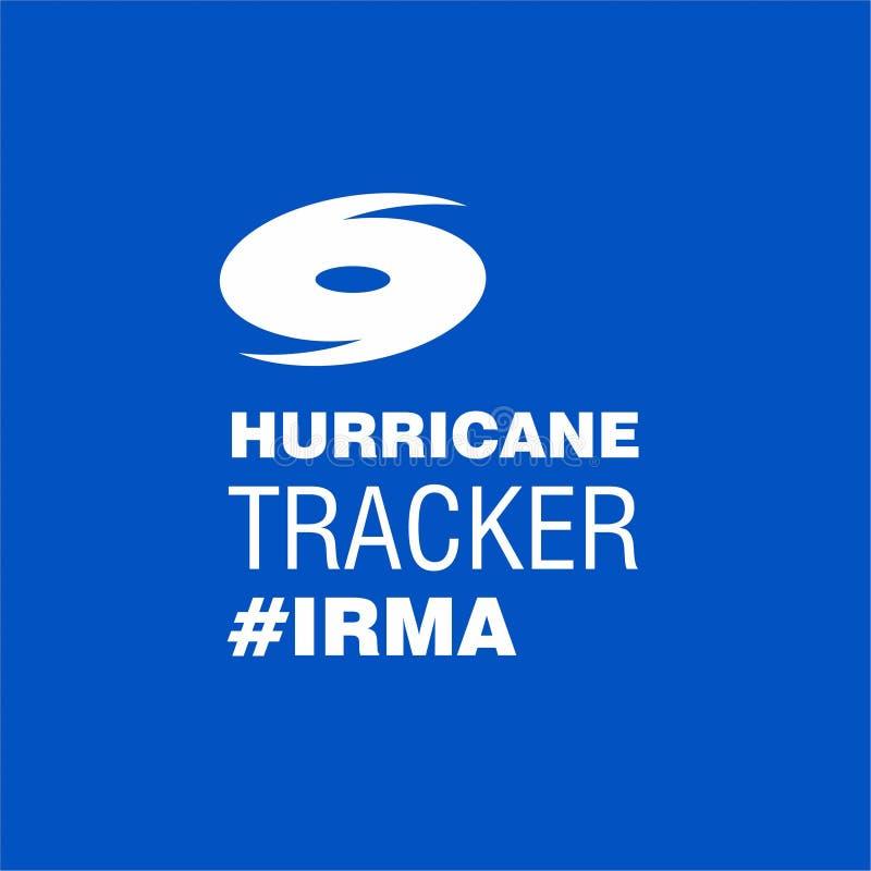 Perseguidor Irma Blue Poster Template del huracán stock de ilustración