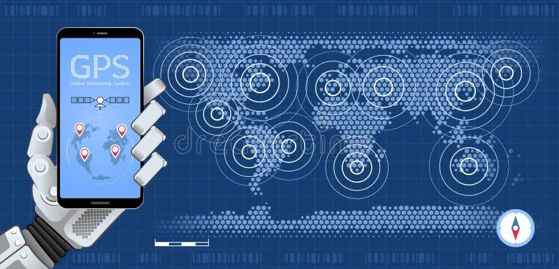 Perseguidor móvil de GPS ilustración del vector