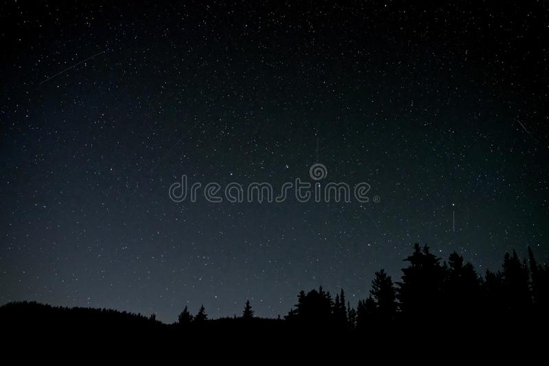 Perseid在夜空的流星雨 免版税库存图片