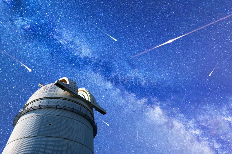 Perseid Meteor Shower in 2017. Falling stars. Milky Way observatory royalty free stock photos