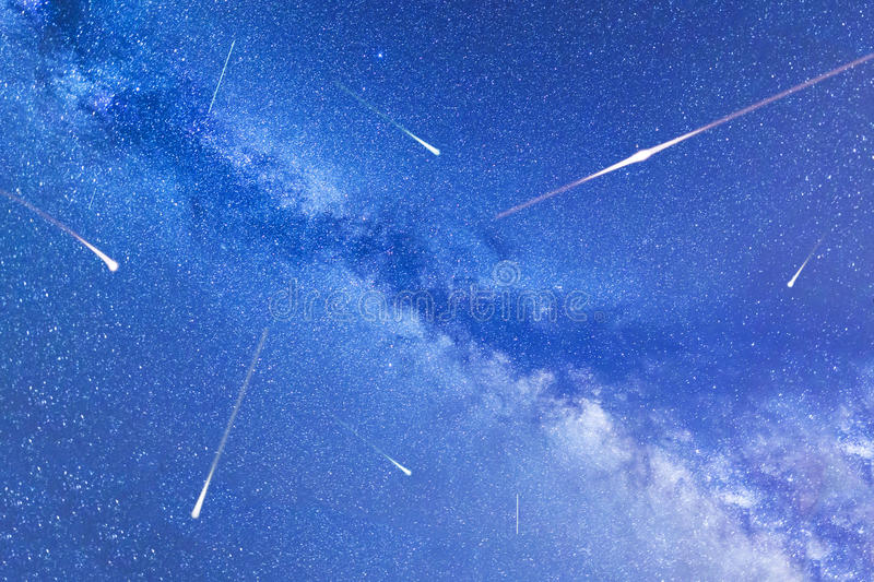 Perseid Meteor Shower in 2016. Falling stars. Milky Way stock photo