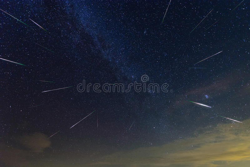Perseid Meteor Shower outburst 2016 royalty free stock photo