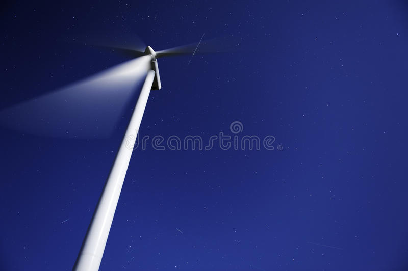 Perseid Meteor shower over a wind mill royalty free stock photos