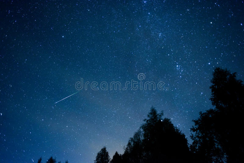 Perseid Meteor Shower in 2016 stock image