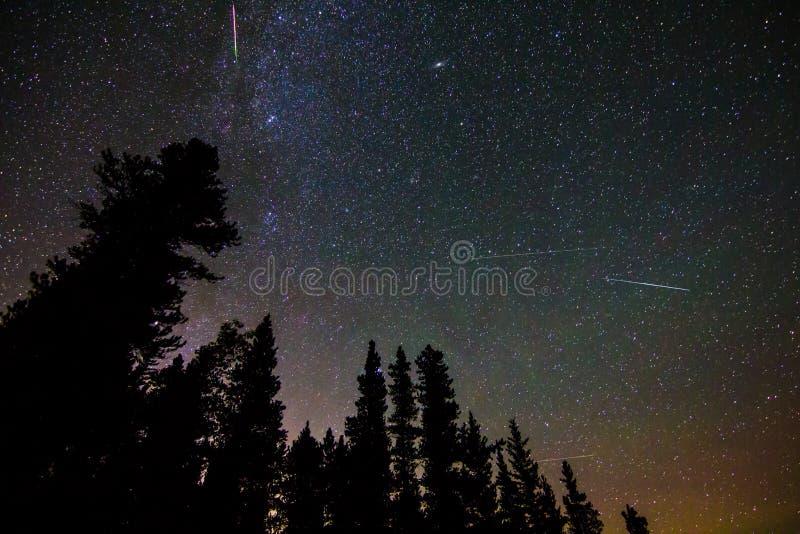 Perseid meteorregn arkivbilder