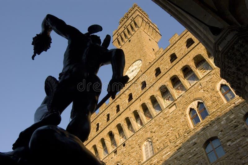 Perseo en Kwal, Benvenuto Cellini, Florence stock foto's