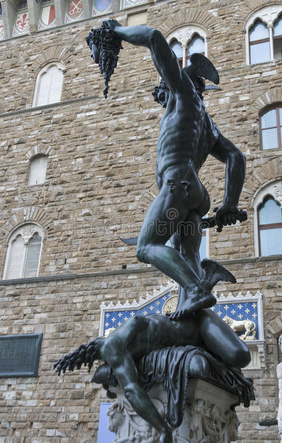 Perseo with head of Medusa statue in Florence, Italy. Perseo with the severed head of Medusa statue by Benvenuto Cellini in Florence, Italy royalty free stock photos