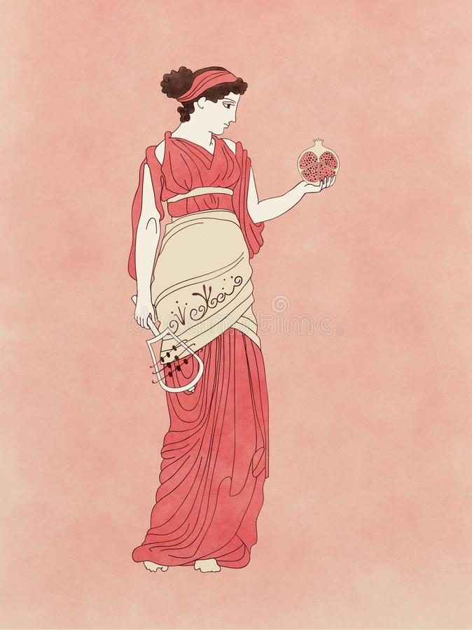Persephone用石榴和sistrum 免版税库存图片
