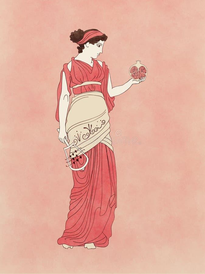 Persephone avec la grenade et le sistrum illustration de vecteur