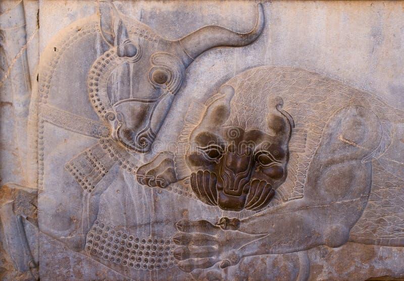 Persepolis antyczni bareliefy fotografia royalty free
