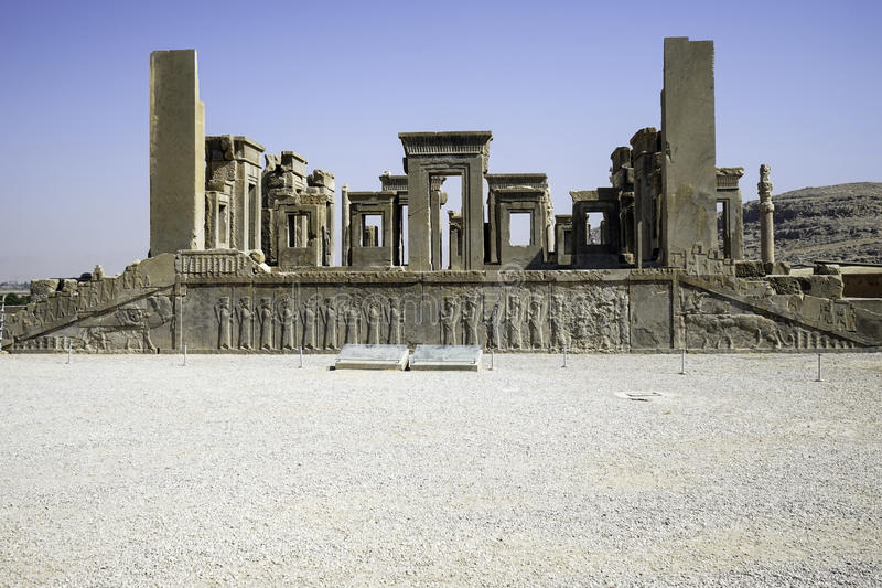 Persepolis i nord av Shiraz, Iran Det har lett till dess beteckning som en UNESCOvärldsarv arkivbild