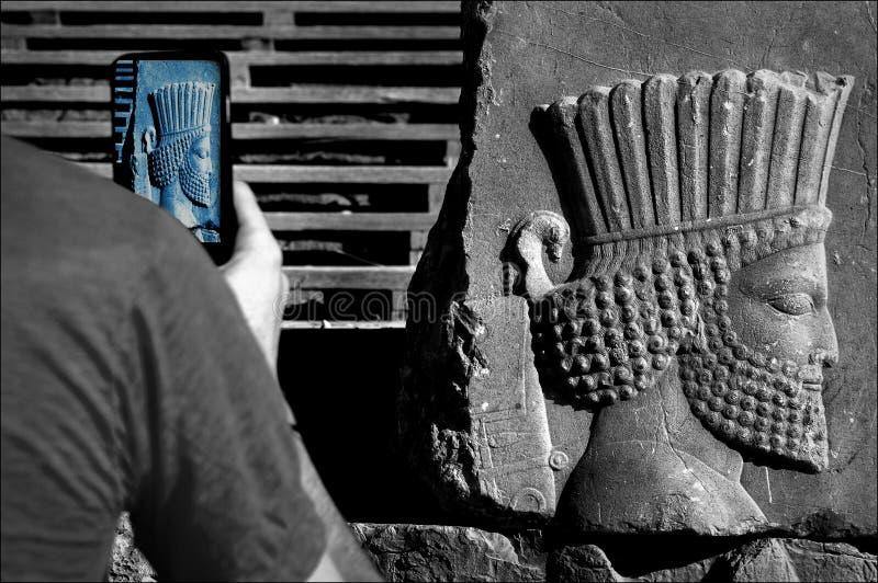 Persepolis jest kapitałem antyczny Achaemenid królestwo widok Iran Antyczny Persia Barelief rzeźbiący na ścianach stary obraz stock