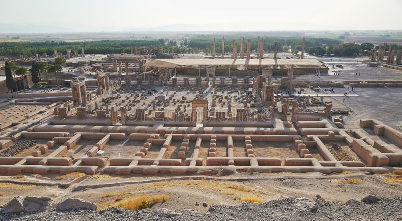 Persepolis. Was the ceremonial capital of the Achaemenid Empire ca. 550–330 BC. It is situated 60 km northeast of the city of Shiraz in Fars Province stock photo