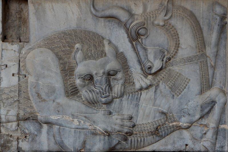 Persepolis: Stier und Lion Fight lizenzfreie stockfotografie